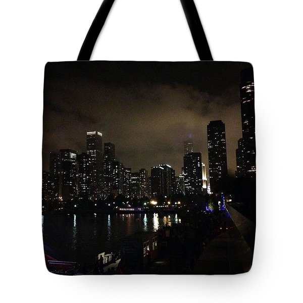 Chicago Skyline By Night Tote Bag by Chantal Mantovani