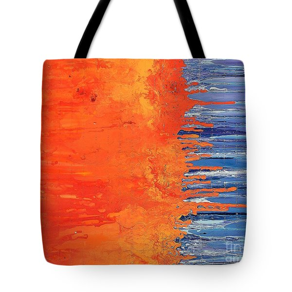 Tote Bag featuring the painting Goodbye Blue Sky by Annie Young Arts