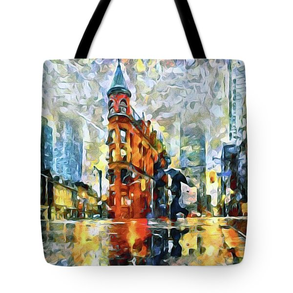 Gooderham Flatiron Building In The Rain Tote Bag