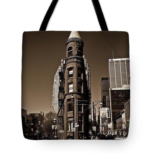 Tote Bag featuring the photograph Gooderham Flatiron Building Toronto Canada Sepia Version by Brian Carson