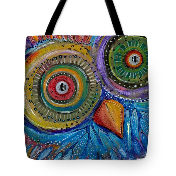Tote Bag featuring the painting Googly-eyed Owl by Tanielle Childers