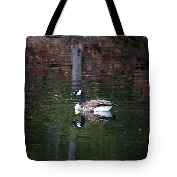 Goose On A Pond Tote Bag by Jeff Severson