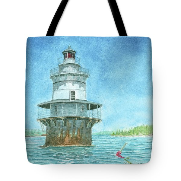 Goose Rocks Light At High Tide Tote Bag by Dominic White