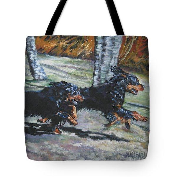 gordon Setter Autumn run Tote Bag