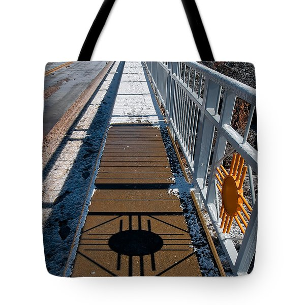 Gorge Bridge Zia Symbol Tote Bag by Britt Runyon