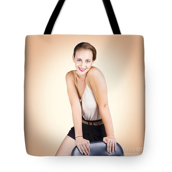 Gorgeous 1950s House Wife Posing On Chair Tote Bag