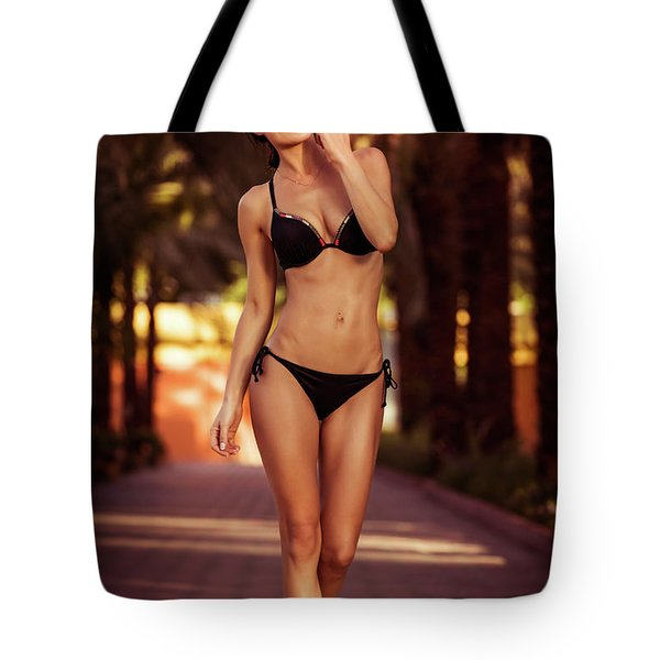 Gorgeous Female On The Beach Tote Bag