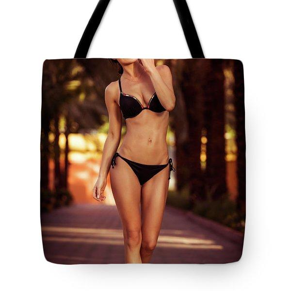 Gorgeous Female On The Beach Tote Bag