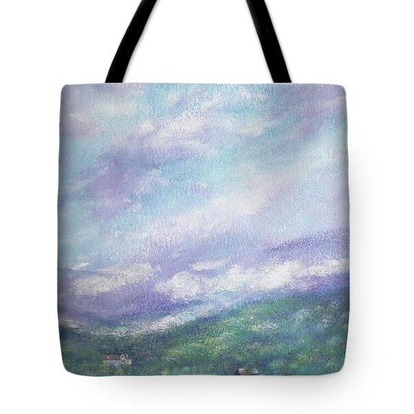 Tote Bag featuring the painting Gorgeous Lake Landscape by Judith Cheng