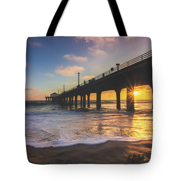 Tote Bag featuring the photograph Gorgeous Sunset At Manhattan Beach Pier by Andy Konieczny