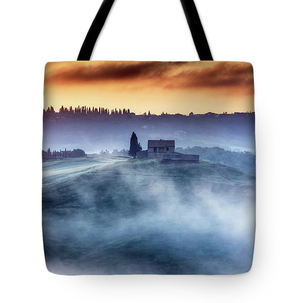 Gorgeous Tuscany Landcape At Sunrise Tote Bag by Evgeni Dinev