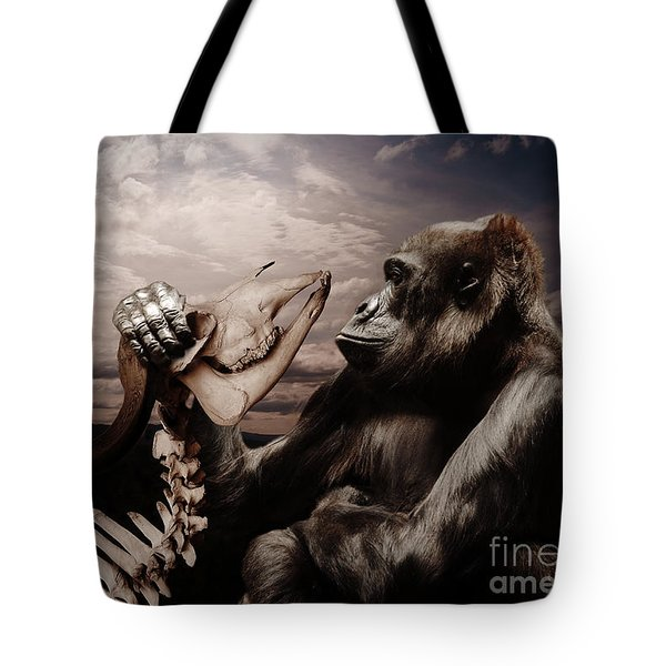 Tote Bag featuring the photograph Gorilla And Bones by Christine Sponchia