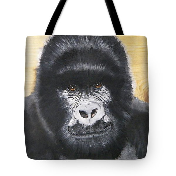Gorilla On Wood Tote Bag