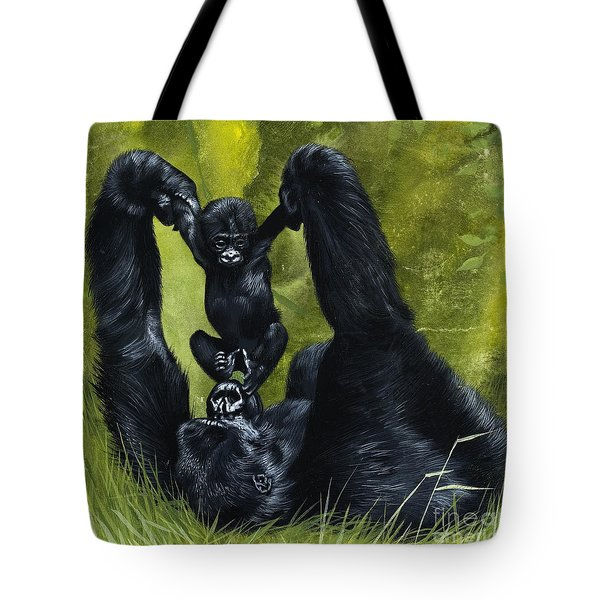 Gorilla Playing With Baby Tote Bag