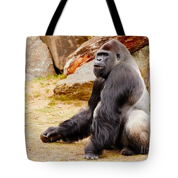 Gorilla Sitting Upright Tote Bag