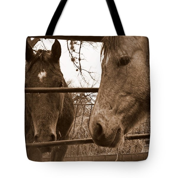 Gossip At The Fence Tote Bag by Karen Musick
