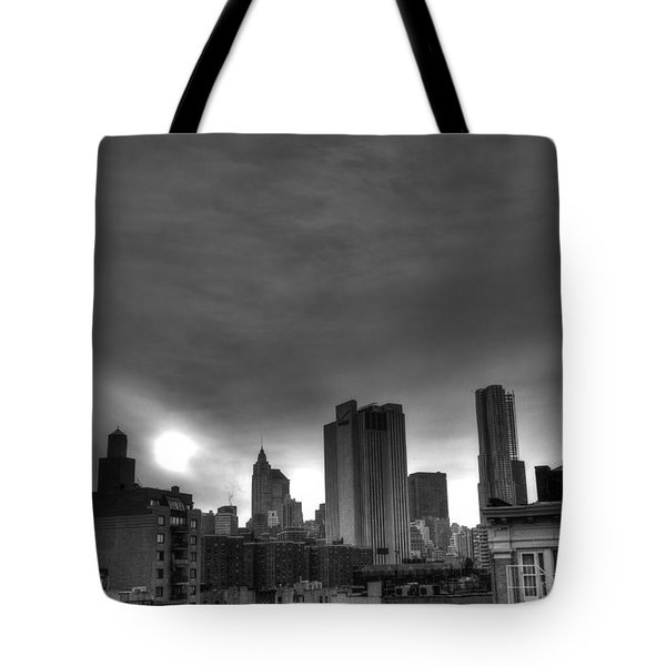 Gotham Black And White Tote Bag by Randy Aveille
