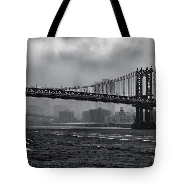 Manhattan Bridge In A Storm Tote Bag