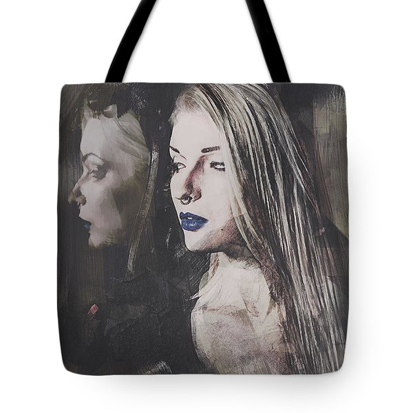 Tote Bag featuring the digital art Gothic Mirror Echo by Galen Valle