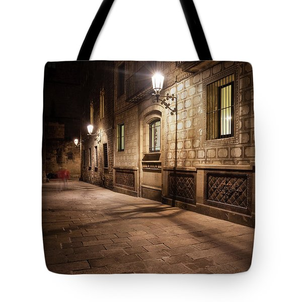 Gothic Quarter Of Barcelona At Night Tote Bag