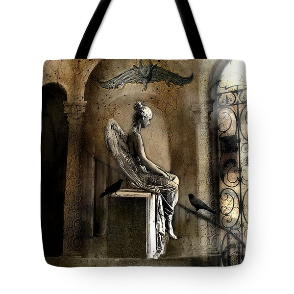 Gothic Surreal Angel With Gargoyles And Ravens  Tote Bag