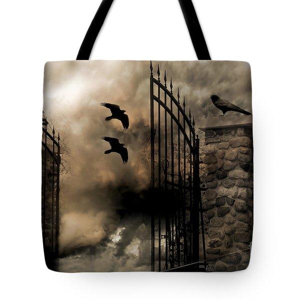 Gothic Surreal Fantasy Ravens Gated Fence  Tote Bag