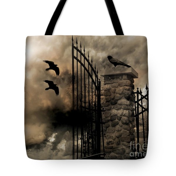 Gothic Surreal Fantasy Ravens Gated Fence  Tote Bag by Kathy Fornal