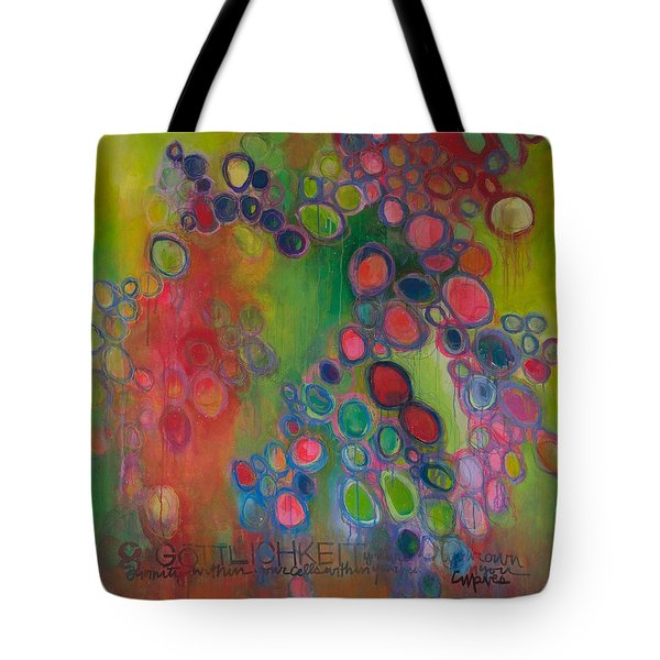 Tote Bag featuring the painting Gottlichkeit by Laurie Maves ART