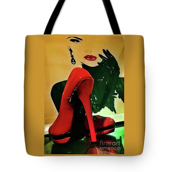Grace With Red High Heels Tote Bag