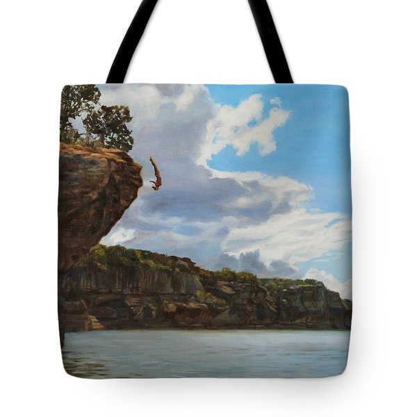 Graceful Cliff Dive Tote Bag