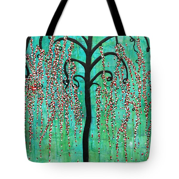 Tote Bag featuring the mixed media Graceful Willow Print by Natalie Briney