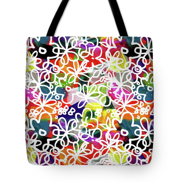 Tote Bag featuring the mixed media Graffiti Garden 2- Art By Linda Woods by Linda Woods