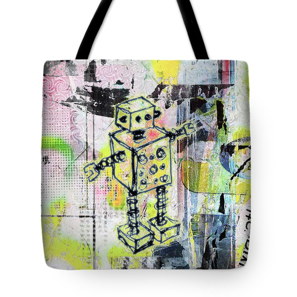 Graffiti Graphic Robot Tote Bag