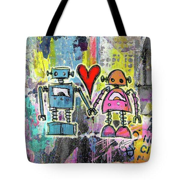 Graffiti Pop Robot Love Tote Bag