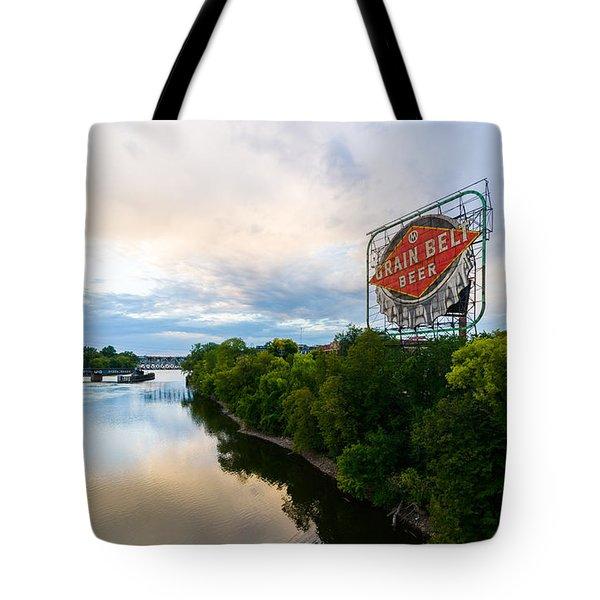 Grain Belt Beer Sign On River Tote Bag
