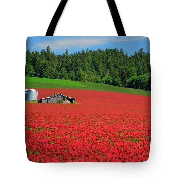 Grain Bins Barn Red Clover Tote Bag