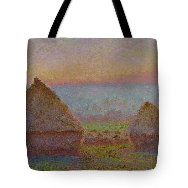 Grainstacks At Giverny The Evening Sun 1888 1889 Tote Bag