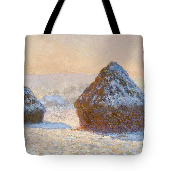 Grainstacks In The Morning, Snow Effect, 1891 Tote Bag