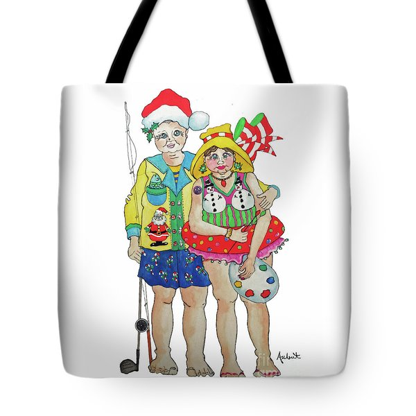 Tote Bag featuring the painting Gram - Cracker And Papa by Rosemary Aubut