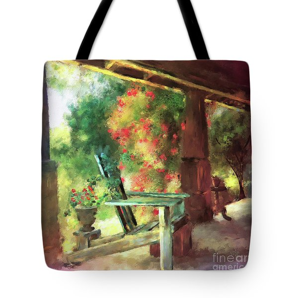 Tote Bag featuring the digital art Gramma's Front Porch by Lois Bryan
