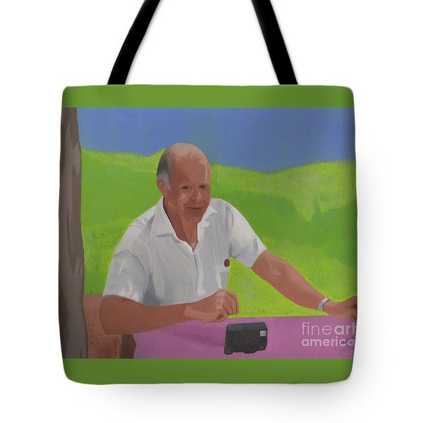 Tote Bag featuring the painting Grampa Wiegand by John Wiegand