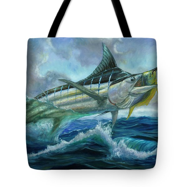 Grand Blue Marlin Jumping Eating Mahi Mahi Tote Bag