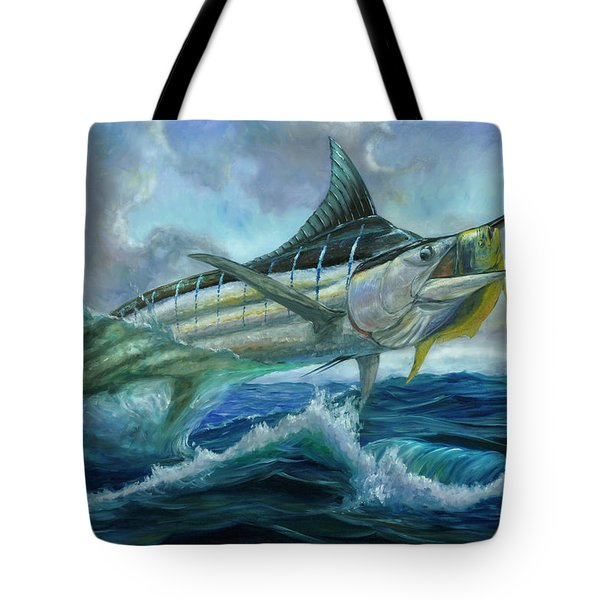 Grand Blue Marlin Jumping Eating Mahi Mahi Tote Bag