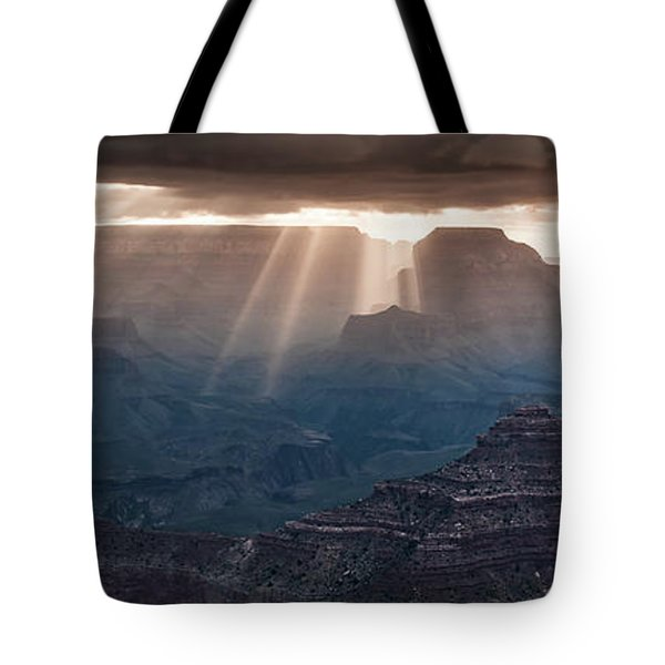 Tote Bag featuring the photograph Grand Canyon Morning Light Show Pano by William Lee