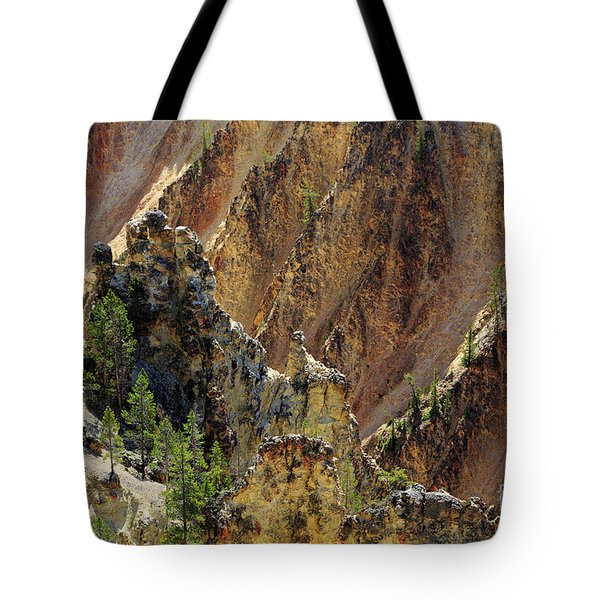 Grand Canyon Of The Yellowstone From North Rim Drive Tote Bag by Louise Heusinkveld