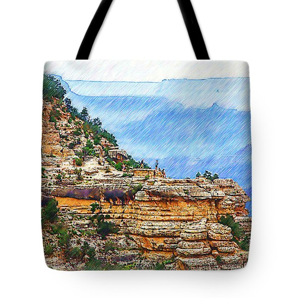 Grand Canyon Overlook Sketched Tote Bag