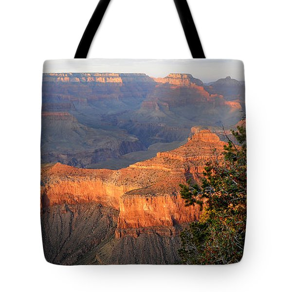Grand Canyon South Rim - Red Berry Bush Along Path Tote Bag