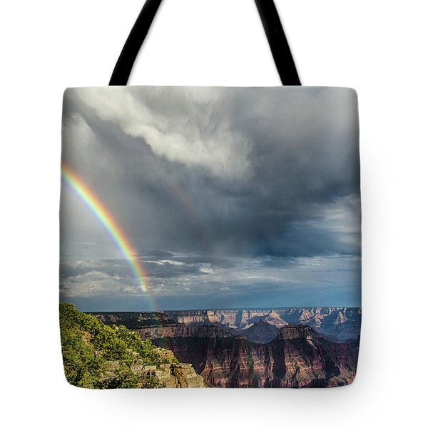 Grand Canyon Stormy Double Rainbow Tote Bag