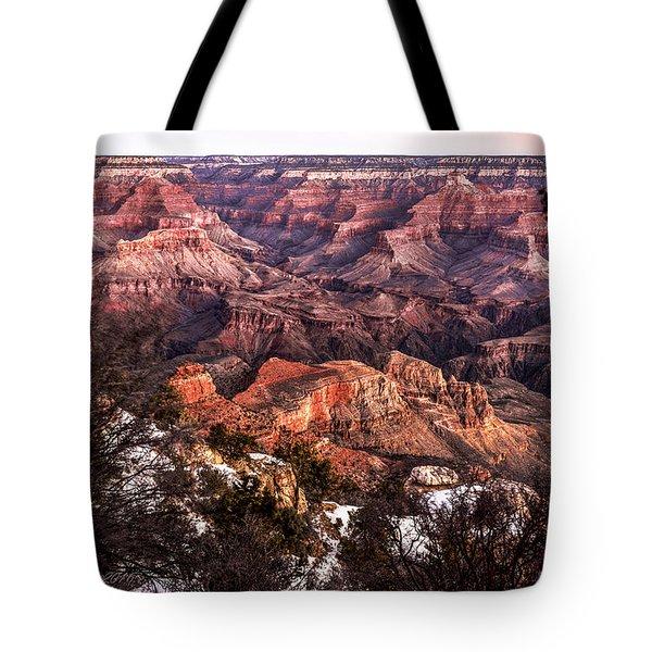 Grand Canyon Winter Sunrise Landscape At Yaki Point Tote Bag