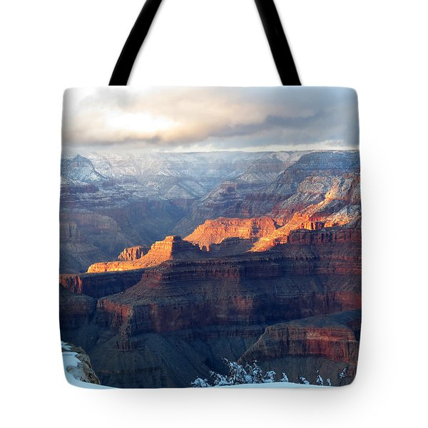 Tote Bag featuring the photograph Grand Canyon With Snow by Laurel Powell